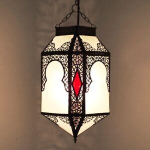 Lanterne Orientale Suspensions Arabes Plafonnier Zina Blanc Verre Dépoli
