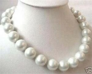 Huge 14mm Round White South Sea Shell Pearl Necklace 18'' AAA PN282