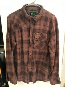 Hippy Tree Button Down Flannel Size Large