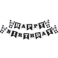 Panda Happy Birthday Felt Banner Bunting Garland Kids Birthday Party Decor T