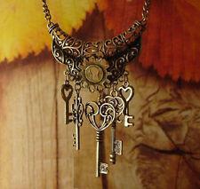 Rétro vintage femme boho style clé pendentif collier longue chaîne cadeau bijoux