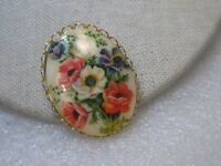 """Vintage Rose Flat Cameo Brooch, 1960's-1970's, Gold Tone, Oval, 1.75"""""""