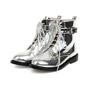 Women's Ankle Boots Patent Leather Lace Up Booties Strappy Round Toe Shoes Zip