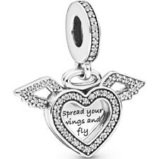 "PANDORA Charm Dangle Element 798485 CO1 "" Heart & Angel Wings "" Silber Bead"