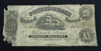 1861 $20 DOLLAR CONFEDERATE STATES CURRCENCY CIVIL WAR NOTE PAPER MONEY