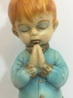 Vintage Underwriters Laboratories Lamp Mid Century Praying Boy Nursery Good Cond