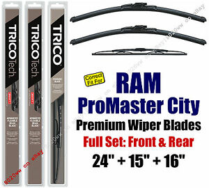 Wipers 3-Pack Premium Front + Rear 2015+ Ram ProMaster City - 19240/160/30160
