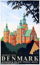 Denmark Danish Rosenborg Castle Europe Vintage Travel Art Advertisement Poster