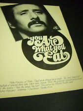 Peter Yarrow from Peter Paul & Mary Is What He Eats 1968 Promo Poster Ad mint