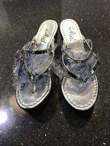 Silver Wedge Sandals Size 4