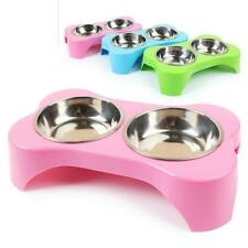 Dog Double Bowl Pet Puppy Feeders Water Dispenser Plastic Stainless Steel Bowls