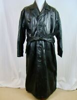 Navarre Leather Company Black Long Leather Trench Coat - Size 3XL