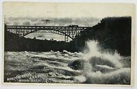 Postcard Niagara Falls NY Whirlpool Rapids RR Railroad Bridge Black White 1900's