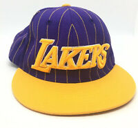 Los Angeles LA Lakers Snapback Cap Hat Embroidered Puffy Spellout Adidas NBA EUC