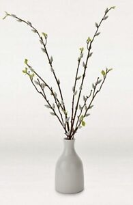 Faux Artificial Pussy Willow Stems In White Bottle Vase 55cm Tall