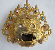 Antique Cast Metal Gold Gilt  Asian incense burner ashtray dragon head