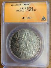Mexico 1911 Caballito Silver Peso Long Ray AU50 ANACS