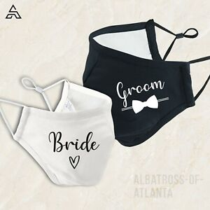 BRIDE GROOM Personalised face mask for wedding party  mask 601