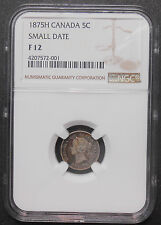 1875H SMALL DATE Five Cents Silver NGC F-12 * RAREST Date KEY Victoria Canada 5¢