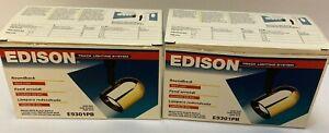 2 Edison E9301PB Roundback Track Light Brass With Black Baffle N.O.S.