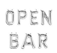 """OPEN BAR Letter Balloons - 16"""" Silver Balloons - Open Bar Sign - US SHIP"""