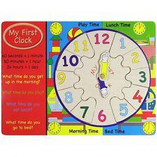 Il Mio Primo Apprendimento Orologio in Legno Giocattolo Educativo per Bambini Scuola Materna