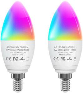 Orbecco Smart WiFi Light Bulb, [2-Pack] E14 Candelabra 5W Dimmable 400 Lumens LE