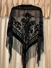 WOMAN'S SHAWL BLACK FRINGE EUC
