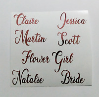 ROSE GOLD NAME STICKERS x 10 VINYL DECAL PERSONALISED WEDDING HEN PARTY DIY