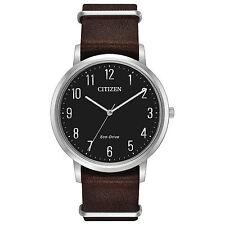 Citizen BJ6500-04E Men's Eco Drive Chandler Slip-Thru Leather Black Dial Watch