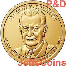 2015 P&D Lyndon B Johnson Presidential Golden Dollars Best Price PD 2 Coins LBJ