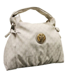 GUCCI CREAM WHITES GG CANVAS HYSTERIA MEDIUM LEADING TACKLE BAG HANDBAG 286307