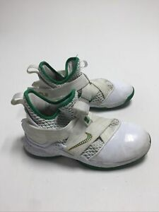 Nike Boys Lebron Soldier 12 AA1352-100 White Green Basketball Shoes Mid Top 6Y