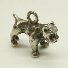 "Vintage / Sterling Silver / 3-Dimensional Pit Bull Dog Charm / Size: 5/8""(2.1g)"