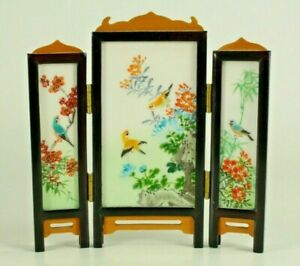 = Antique 1900's Chinese Miniature Screen Hand Painted on Marble  Double Sided