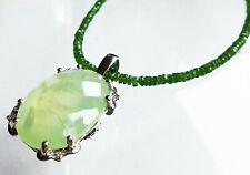 Granat Collier mit Eichel Quarz Bergkristall briolett Anhänger mit Halskette