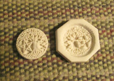 Tree of life with Pentagram Pentacle Star Hard Polymer Clay Push Mold 1-1/8
