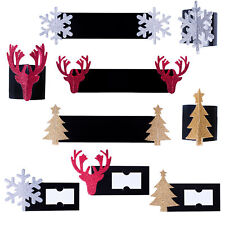 Christmas Tableware- Napkin Rings / Place Cards - Card / Glitter - Choose Design