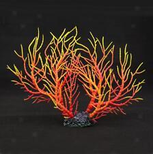 Aquarium Fish Tank Coral Ornament Aquatic Plants Decor Red Yellow