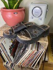 90's Y2k Vintage Brown Leather No Boundaries Platform Jesus Sandals Flower 8.5