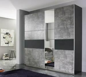 Rauch 'Korbach' Sliding Door Wardrobe, Stone & Anth. German Bedroom Furniture