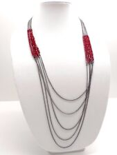 Kenneth Cole Chain Layer Necklace $65 Pewter Tone Red Bead Multi Strand New! NWT