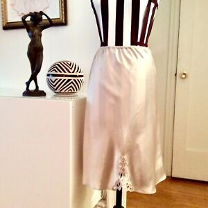 Vintage Natori Satin Poly Charmeuse Half Slip Skirt With Appliqué Size S