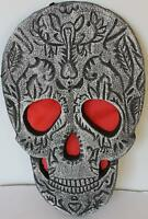 "Day of the Dead, Halloween Prop, 14"" Hanging Skull Decoration"