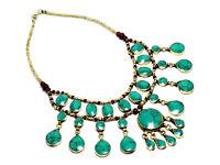 Green Turquoise Necklace Cassidy Bubble Bib Afghan Ethnic Tribal Kuchi Jewelry