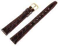Echt-Leder Uhren Armband Braun Gold 13 mm Dornschließe Ersatzband X8000019130