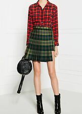 VERSACE VERSUS WOMENS TARTAN PLEATED ASYMMETRIC SKIRT *IT 40/UK 8-10* BNWT *£240