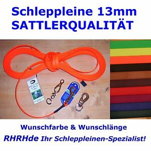 BioThane Schleppleine 13mm GENÄHT NICHT NUR GENIETET! Wunschlänge Wunschfarbe