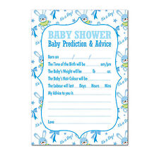 Baby Shower Prediction & Advice Game 16 A6 Party Cards - Boys Cute Boy Blue