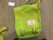 Noa Noa kendo canvas bag bright green adjustable straps flap front with buckles